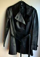 New NWT $6,500 Ralph Lauren Black Label Leather Jacket Trench Coat IT 40 / US 4
