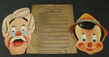 Disney 1939 Pinocchio Gillette Razor Blades Masks Set of 2 Premium Geppetto
