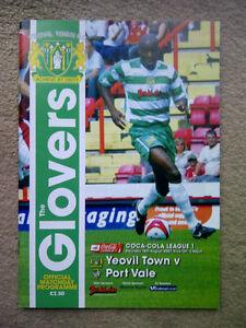 Yeovil Town v Port Vale - Coca-Cola League 1 2007-08 PROGRAMME