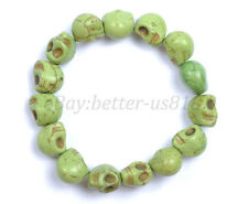 1Pcs Turquoise Sugar Skull Charms Beads Elastic Wristband Bracelets U Pick Color