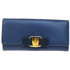 Authentic Salvatore Ferragamo Vara Long Bifold Wallet Purse Leather Blue 03V1895