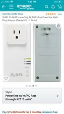 ZyXEL PLA407 AV 200 Mbps Pass-thru Ethernet Adapter Powerline Pack of 2