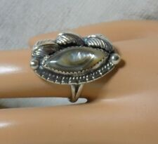Old Pawn Southwestern Abalone Shell Sterling Silver Oblong Ring Sz 6.25