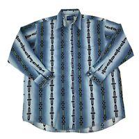 Wrangler Mens Size 3XLT Tall Blue Southwest Aztec Long Sleeve Pearl Snap Shirt
