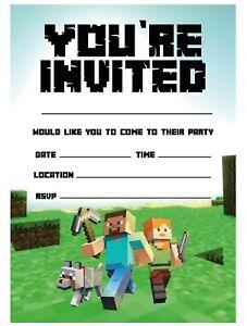 Children Party Invites Kids Birthday Party Invitations - Mine Theme Invites