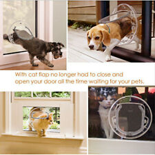 For Glass Fitting Cat / Dog Pet Flap Dual Glaze 4 Way Locking-Clear Round Door