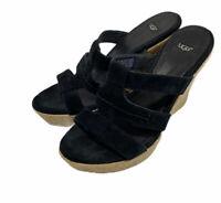 UGG Australia Tawnie 1000404 Womens Black Leather Shoes Size Us 7.5 M