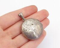 925 Sterling Silver - Vintage Floral Vine Etched Locket Pendant (OPENS)- P13397
