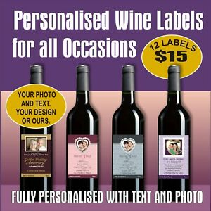 12 PERSONALISED WINE LABELS - FOR ANY OCCASION, YOUR DESIGN OR OURS, FREE POST