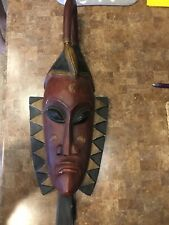"""Hand carved wood mask, approximately 27""""x10"""""""
