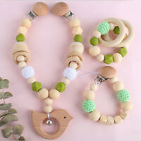 Beech Bird Silicone Wood Beads Baby Teething Bracelet Pacifier Chain Clips Toys