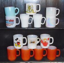14 Vintage Fire King Coffee Mugs Cups - Iridescent, Apple Dumplin, Brick Red+