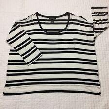 White House Black Market Striped 3/4 Sleeve Hi/Lo Hem Tunic Top XL 008