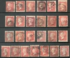 1855-58 1d Red stars x 25 all blued paper, not checked, LC14 C6/C8 SG29-33