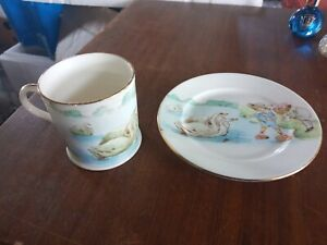 Foley China Cup And saucer Feeding The swans