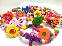 Wholesale 10/12pcs Kids Wood Lovely Bracelets Birthday Party Gift Favor Jewelry