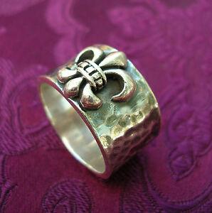 Großer MASSIVER 925er Silber RING Ritter Lilie Fleur de Lis AUCH für Männer