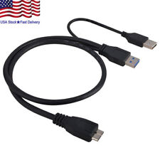 1.5FT Dual USB 3.0 A Male to Micro B Y Black Power Data Cable Mobile Hard Disk