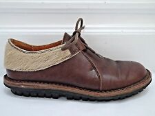 TRIPPEN brown leather calf hair detail lace-up flat shoes size 37