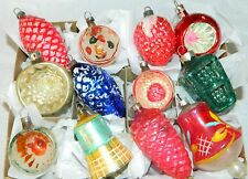 Antique Vintage FEATHER TREE Glass Christmas Ornaments Hand Painted FIGURAL