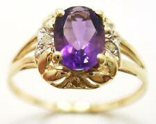 FAB 10KT YELLOW GOLD OVAL AMETHYST & DIAMOND RING SIZE 7 R1065