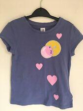 GAP kids girls blue t-shirt size xs 4-5yrs pink hearts