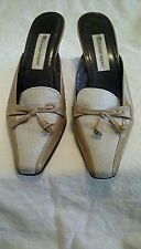 Etienne Aigner Sz 8.5M Women Tan & Ivory Kitten Heel Mule W/Tassel on Toe!!