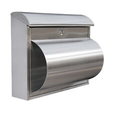 Florida Stainless Steel Letterbox - A4 sized Modern Mailbox Letter Box Key Lock