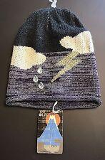 New NWT 1717 Olive Black Purple Clouds Thunderbolt Rain Sky Knit Beanie Hat