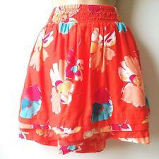 Aeropostale Juniors Size XLarge Lined Floral Orange Mini Skirt Elastic Waist B1