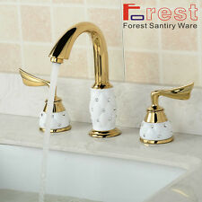 Widespread 3pcs Bathroom Tub Faucet For Basin Sink Mixer Tap Golden&White Brass