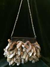 Cedrics Sable Brown Genuine Rex Rabbit Fur Fringe Purse Evening Bag