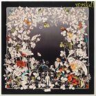 """GUCCI black WONDERGARDEN flowers & birds CREST logo silk 35"""" Scarf NWT Authentic"""