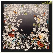 "GUCCI black WONDERGARDEN flowers & birds CREST logo silk 35"" Scarf NWT Authentic"