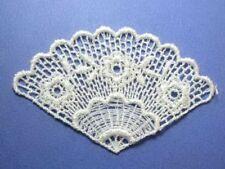 White Fan Venise Lace Sew Glue On Applique Patch