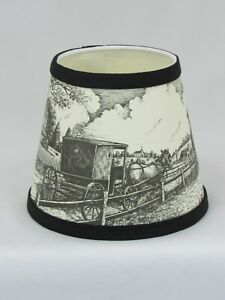 """Albert Estate LTD., 6"""" Black and White Horse and Buggy Paper Shade"""