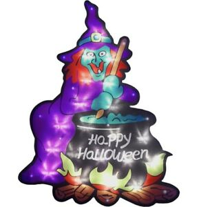 NEW HAUNTED HOUSE SILHOUETTE HAPPY HALLOWEEN WITCH LIGHT UP WITH WINDOW SUCKER