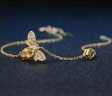 Elegant bee citrine peridot simple dainty yellow gold tone bracelet minimalist