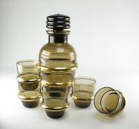 Turmalin Rauchglas gold Glas Dekanter Karaffe Gläser Art Deco wohl Podbira Haida