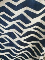 Fibre Naturelle Designer Blue Cream Fabric Per METRE FREE POSTAGE