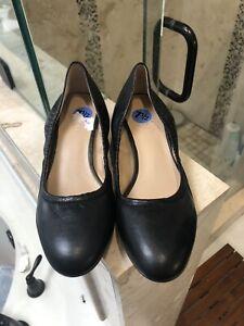 Franco Sarto Black Hartford Round Toe Block Heels Size 7.5 7 1/2 New