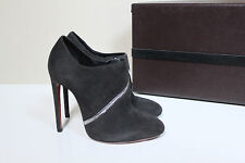 New sz 7.5 / 37.5 Azzedine Alaia Gray Suede Side Zip Ankle Bootie Heel Shoes