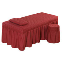 MagiDeal 1 Set Massage Table Skirt Bed Valance Sheet Bedding 190x70cm Red