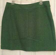New Rafaella Green Skirt Sz 12Petite Lined Basket Weave Wool Blend Skirt