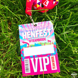 HENFEST Festival Hen Party VIP Passes / Hen Do Challenges Party Lanyards Favours