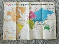 "Cool Vintage YAESU The Amateurs World Map  27"" X 40"" HAM RADIO ADVERTISING Japan"