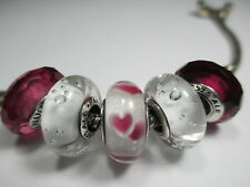 5 Pandora Silver 925 ALE Fascinating Rose Red Wild Heart Clear CZ Beads Charms