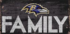 """Baltimore Ravens FAMILY Football Wood Sign - NEW 12"""" x 6""""  Decoration Gift"""