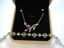 Red and Green Crystal Flower Withe Gold-Plated Necklace Pendants Bracelets Set