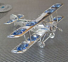 Biplane Airplane Ornament with 12 Swarovski Prisms, Anti Tarnish Silver Plate